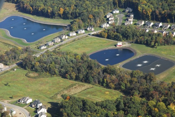 aerial photo of wastewater treatment lagoons in buckingham pa
